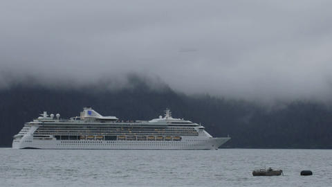 Time lapse of a cruise ship leaving Seward, Alaska Footage