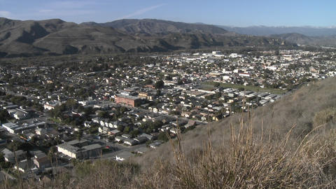Panning above the urban area on Ventura Avenue in Ventura, California Footage