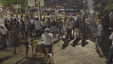 Time lapse of a crowd at a boxing event in Zihuatanejo,... Stock Video Footage