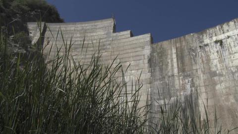 Looking up at Matilija Dam in Ojai, California Stock Video Footage
