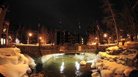 Night time lapse of Gore Creek flowing through Vail,... Stock Video Footage