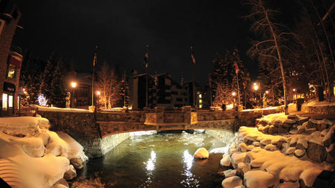 Night time lapse of Gore Creek flowing through Vail, Colorado Footage