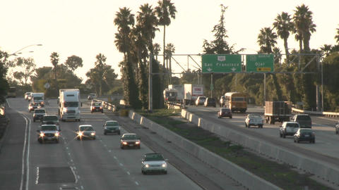 Time lapse of cars and trucks driving on Highway 101 in Ventura, California Footage