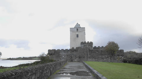Time lapse of clouds blowing over Doe Castle near Creeslough in County Donegal, Ireland Footage