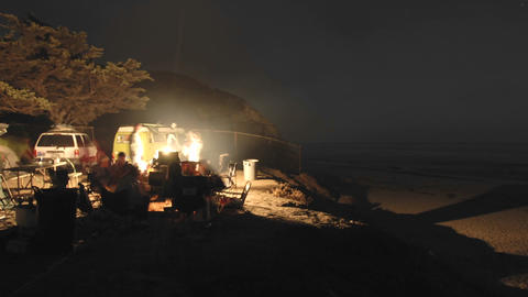 Time Lapse Of People Around A Campfire At Jalama Beach County Park, California stock footage