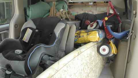 Time lapse of packing up the van for camping in Oak View,... Stock Video Footage