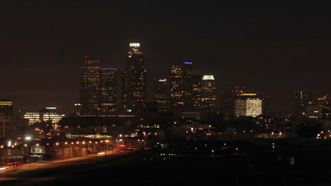 Time lapse of dawn in downtownLos Angeles, California Stock Video Footage