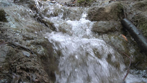 Point of view close up over a small waterfall in Los Padres National Forest above Ojai, California Footage