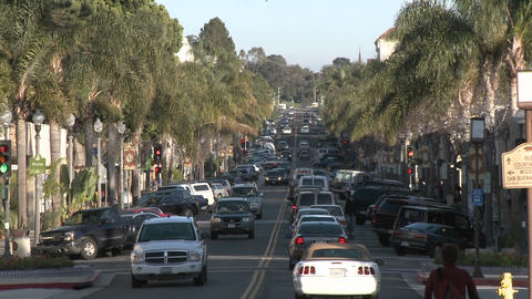 Cars driving on Main Street in downtown Ventura, California Stock Video Footage