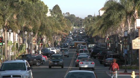 Cars driving on Main Street in downtown Ventura, California Footage