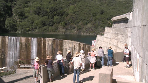 Side view of water spilling over the Matilija Dam during... Stock Video Footage