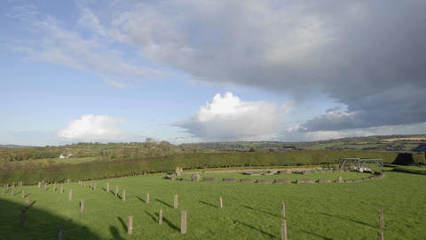 Time lapse of sundials and clouds passing over Newgrange,... Stock Video Footage