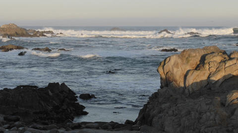 Short time lapse of waves breaking on Point Pinos in Pacific Grove, California Footage