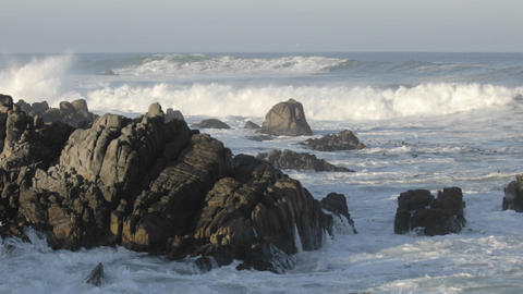 Time lapse of waves breaking on the rocks at Point Pinos in Pacific Grove, California Footage