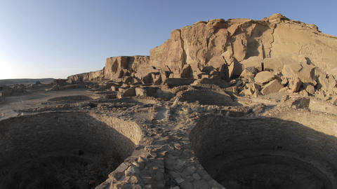Time lapse of sunset on the great kiva at Pueblo Bonito... Stock Video Footage