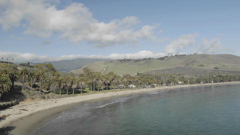 Panning time lapse of clouds passing over Refugio Beach State Park, California Footage