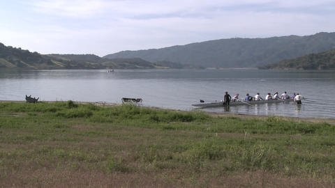 Time lapse of eight person rowing sweep leaving the water... Stock Video Footage
