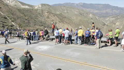 Time lapse of the peloton during the 2007 Tour of... Stock Video Footage