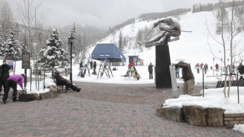Time lapse of skiers at a ski lift in Vail, Colorado Stock Video Footage