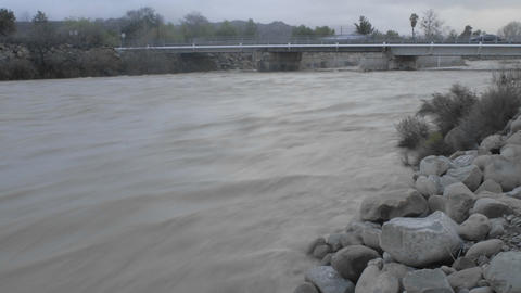 Time lapse of flooding on the Ventura River in Oak View,... Stock Video Footage