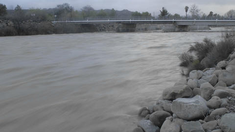 Time lapse of flooding on the Ventura River in Oak View, California Footage