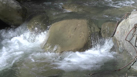 Zoom out of a waterfall on North Fork Matilija Creek above Ojai, California Footage