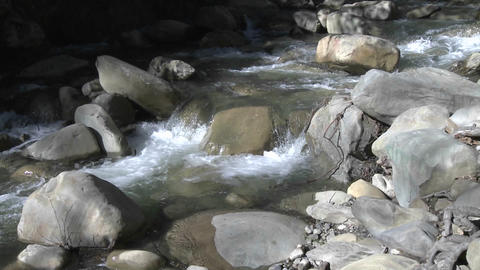 Zoom out of a waterfall on North Fork Matilija Creek... Stock Video Footage