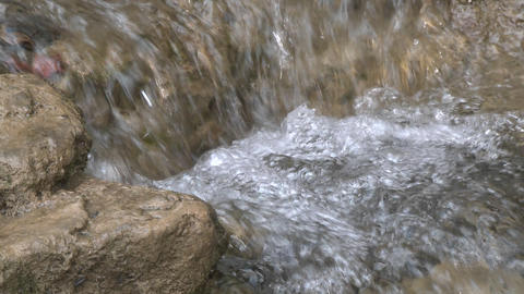 Close up of a small waterfall on the North Fork Matilija Creek above Ojai, California Footage
