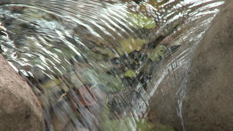 Close Up Tilt Down A Waterfall In Wheeler Springs Above Ojai, California stock footage