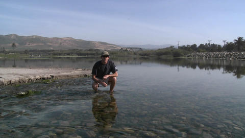 Man discussing the steelhead migration up the Ventura... Stock Video Footage