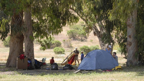 Time lapse of setting up a tent on Santa Cruz Island in... Stock Video Footage