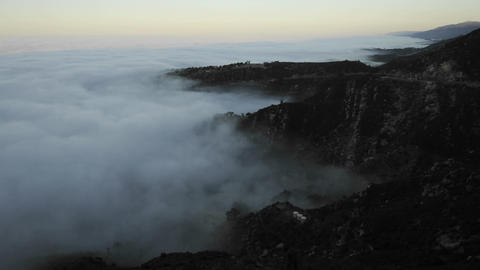 Time lapse of coastal fog at sunrise along the Santa Ynez... Stock Video Footage