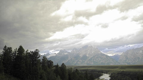 Time lapse of thunderstorm forming over the Teton Range... Stock Video Footage