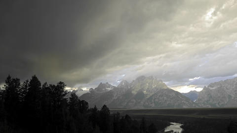 Time lapse of thunderstorm forming over the Teton Range in Grand Teton National Park, Wyoming Footage