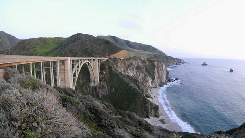 Time lapse at dusk on the historic Bixby Creek Bridge and... Stock Video Footage