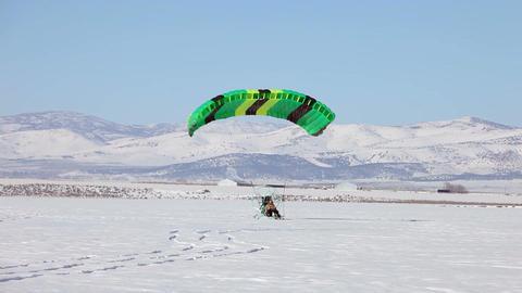Power parachute green takeoff ice P HD 5841 Footage