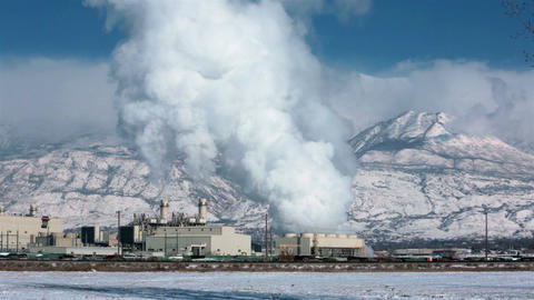 Power plant winter snow natural gas steam smoke HD 0190 Footage