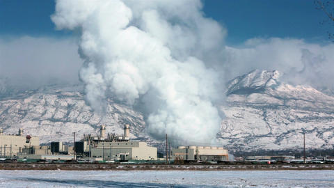 Power plant winter snow natural gas steam smoke fast timelapse HD 0190 Footage