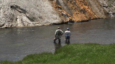 Recreation sport fly fishing Firehole River Yellowstone 4K Footage
