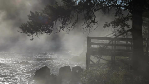 River lookout in mist P HD 2543 Footage