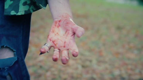 Bloody hand of crazy sect fanatic after offering ritual, murderer dissects body Live Action