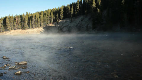 River with steam and fog P HD 2532 Footage