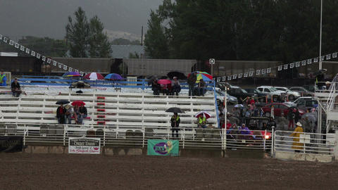 Rodeo rain train passing stands HD Footage