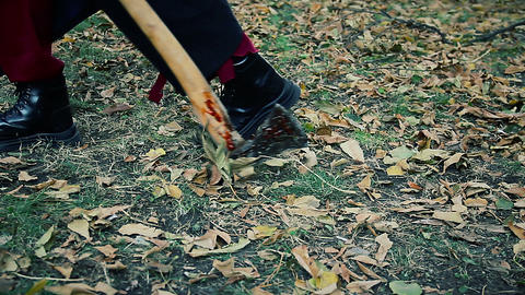 Crazy killer pulling bloody axe in wild forest, maniac escaping from crime scene Live Action