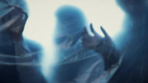 Silhouettes of scary creatures trying to reach victims, zombie attack, nightmare Live Action