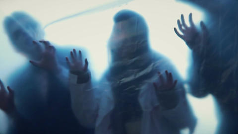 Silhouettes of lost souls escaping from underworld, ghosts in haunted house Footage