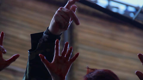 Bloody hands of scary monsters shaking in air, threatening to kill victim Footage