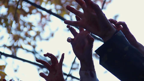 Bloodthirsty creatures stretching hands to catch victim, zombie attack in city Footage