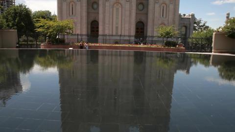 Salt Lake City LDS Temple reflect tilt up P HD 0710 Footage