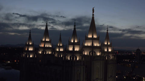 Salt Lake City Mormon LDS Temple night spires 4K Footage